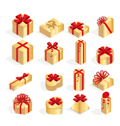 isometric set of colorful gift boxes with bows and vector image vector image