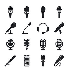 microphone sound radio icons vector image