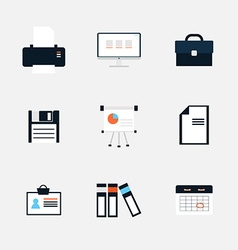 Modern icons collection of business elements vector image vector image