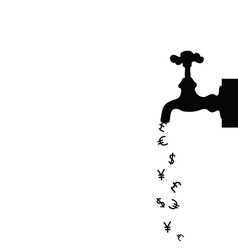 money icon with fountain black vector image vector image