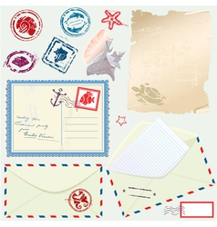Postcard envelope stamps and paper vector image vector image