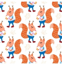 Seamless pattern with cute squirrel vector image