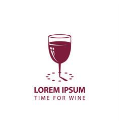 wine glass and sundial minimalistic icon vector image