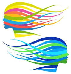 Woman with flowing long hair vector image