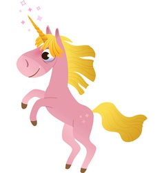 Cartoon unicorn rearing up vector image vector image