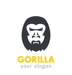 gorilla head logo element over white vector image