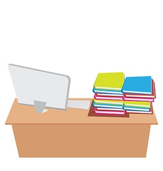 office desk with computer and working vector image
