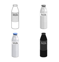 plastic milk bottle icon in cartoon style isolated vector image
