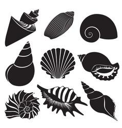 sea shells seashell silhouettes set vector image vector image