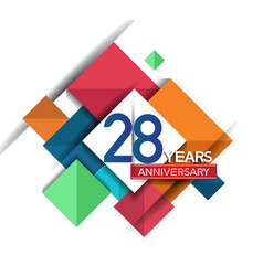 28 years anniversary design colorful square style vector