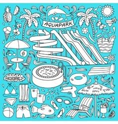 Aquapark doodle set vector