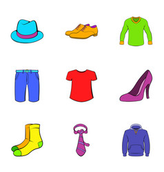 articles of clothing icons set cartoon style vector image