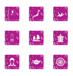 Asian seafarer icons set grunge style vector