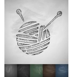 Ball of yarn icon hand drawn vector