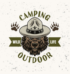 bear in scout hat camping emblem or logo vector image