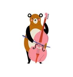 Bear playing cello cute cartoon animal musician vector