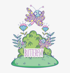 beauty butterflies insects with flowers plants vector image