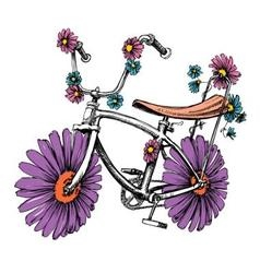 Bike with flowers cute design element for vector image