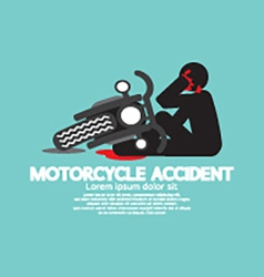 Biker with motorcycle have an accident vector
