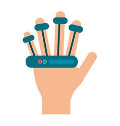 Bionic hand technology symbol vector