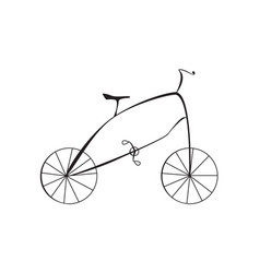 black bicycle isolated on white background vector image