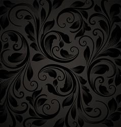 Black Seamless Floral Wallpaper vector image
