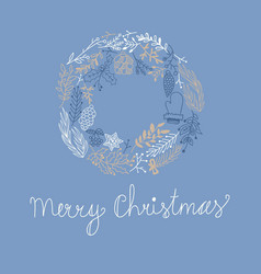 Blue greeting merry christmas decorative card vector