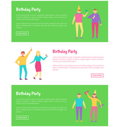 bright birthday party cards vector image