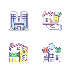 Business property rgb color icons set vector