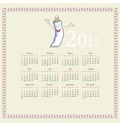 calendar with a tube of toothpaste vector image vector image