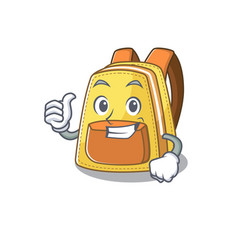 Cheerfully kids school backpack making thumbs up vector