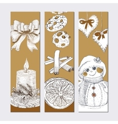 Christmas golden banner set vector image