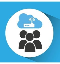 Cloud computing service wifi router vector