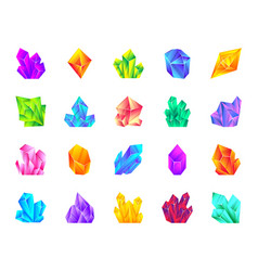 Crystal gemstone mineral flat cartoon icon set vector