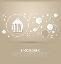 cupcake muffin icon on a brown background with vector image