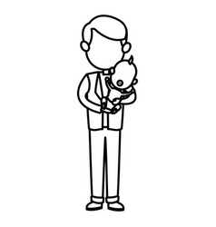 Cute father holding her baby son image vector