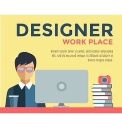 Designer on work place logo vector image