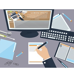 Desktop business man in the office with place for vector image