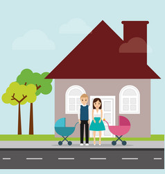 Family and house with chimney and road vector