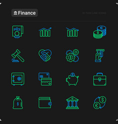 Finance thin line icons set vector