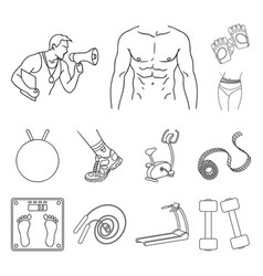 fitness and attributes outline icons in set vector image