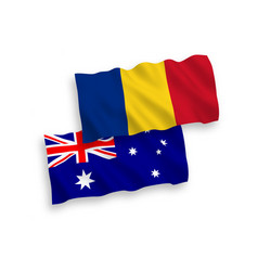 Flags australia and romania on a white vector