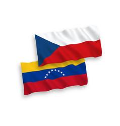 Flags venezuela and czech republic on a white vector