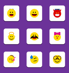 flat icon face set of cheerful pouting wonder vector image