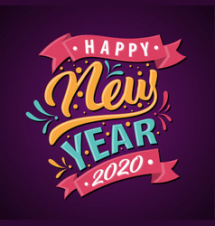 fun letter happy new year 2020 for greeting card vector image