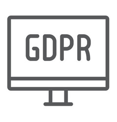 gdpr monitor line icon computer and screen vector image