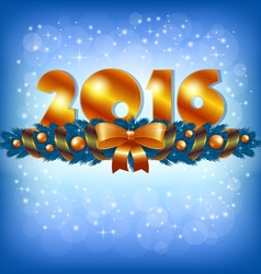 Golden New Year 2016 and Xmas decoration vector image