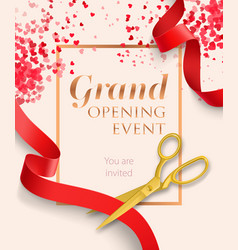 Grand opening event lettering with red ribbons vector