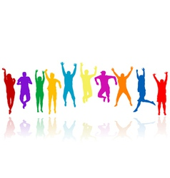 Group of young people silhouettes jumping vector image