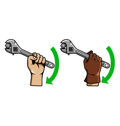 hand using wrench vector image vector image